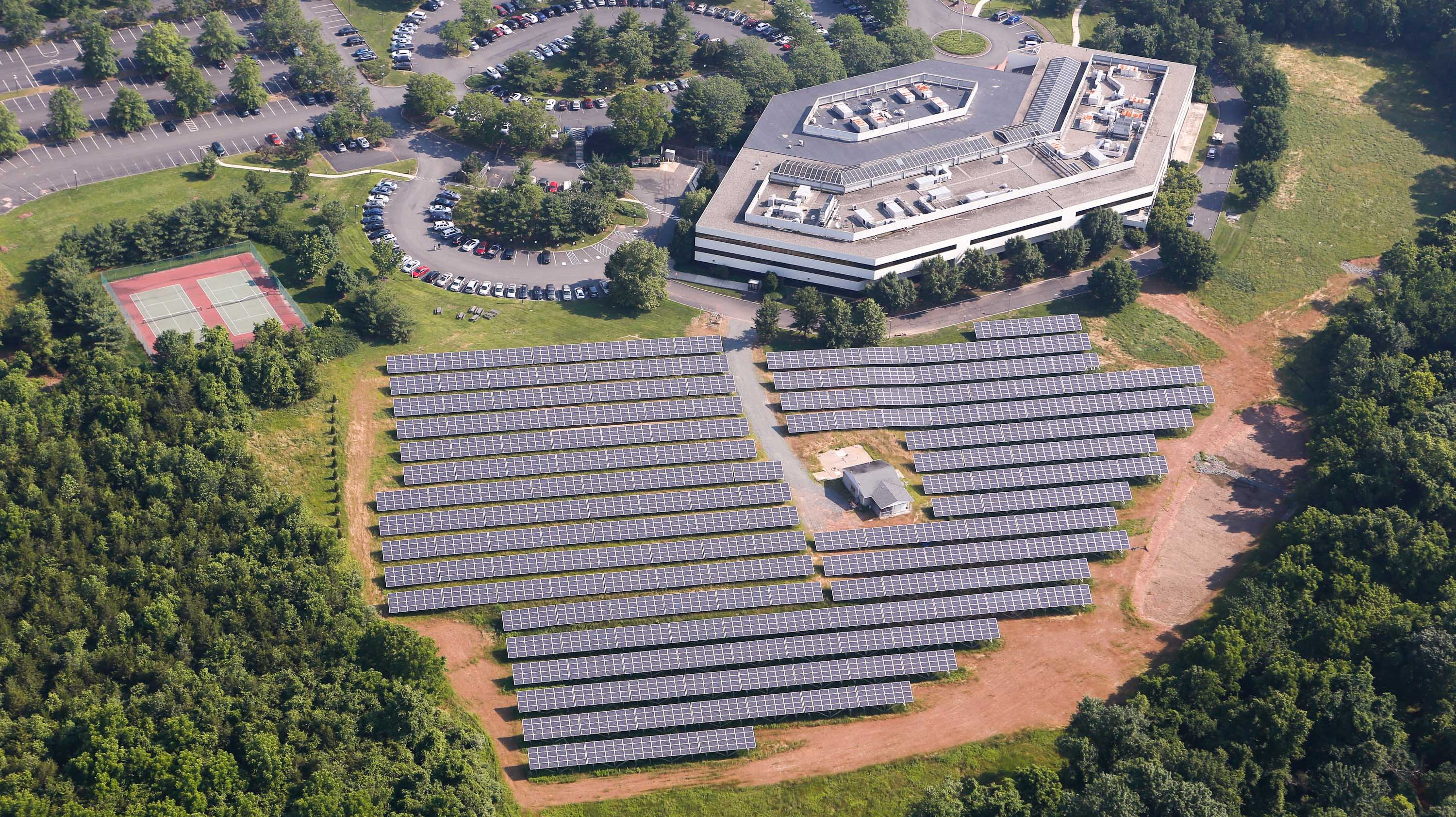 Ground mounted solar installation maximizes available land space